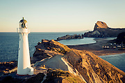 The golden hour before sunset, over Castlepoint Lighthouse, Wairarapa, New Zealand