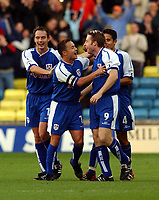 Neil Harris celebrates scoring the winning goal. (Millwall) Millwall v Coventry, The Dell, 04/10/2003, Nationwide League Football. Credit : Colorsport / Robin Hume. Digital File Only.
