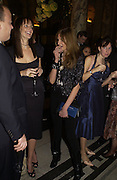 Saffron Aldridge and Jemima Khan. British Fashion awards 2005. V. & A. Museum. Cromwell Rd. London.   10  November 2005 . ONE TIME USE ONLY - DO NOT ARCHIVE © Copyright Photograph by Dafydd Jones 66 Stockwell Park Rd. London SW9 0DA Tel 020 7733 0108 www.dafjones.com