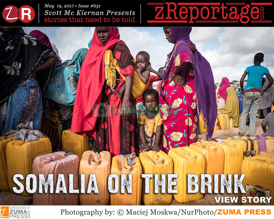 zReportage.com Story of the Week # 631 - Somalia On The Brink - Launched May 19, 2017 - Full multimedia experience: audio, stills, text and or video: Go to zReportage.com to see more - The current drought in Somalia will very likely become a famine - this year. More than 2 million people are facing starvation in the Horn of Africa nation that is suffering the effects of repeated rain failures and decades of conflict, according to the United Nations. A pre-famine alert was issued earlier this year, a move that U.N. officials credit with helping to avert a repeat of the 2011 famine. More than half the country, some 6.7 million Somalis still require aid after drought withered crops, killed livestock and dried up waterholes, according to the U.N. And almost 1.4 million children will risk acute malnutrition, according to UNICEF. After three extremely dry 'rainy' seasons, the effect has been catastrophic. 60 percent of Somalis depend on farming for survival, but as the dry landscape has caused many small farmers to lose their livestock and in turn their livelihood. While emergency workers focus on safe drinking water and food, the country is fighting its worst cholera epidemic in five years so far over 600 people have died from the disease. It will be the 3rd famine to hit Somalia in 25 years, a rate of starvation that is unmatched on Earth. (Credit Image: ? Maciej Moskwa/NurPhoto/zReportage.com via ZUMA Wire)