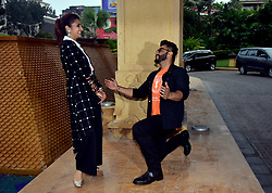 October 5, 2018 - Mumbai, India - Indian film actress Parineeti Chopra and actor Arjun Kapoor seen posing for photos during a promotional event at Hotel JW Marriott, Juhu in Mumbai for the upcoming film Namaste England. (Credit Image: © Azhar Khan/SOPA Images via ZUMA Wire)
