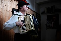 CZECH REPUBLIC MORAVIA BANOV 2APR18 - Jiri Chovanec attunes to his accordeon prior to Easter celebrations as folklore musicians  wander on their round through the village of Banov, Moravia. <br /> <br /> jre/Photo by Jiri Rezac<br /> <br /> © Jiri Rezac 2017