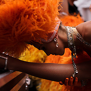 September 27, 2015 - New York, NY : Moulin Rouge dancer Simone Covele stretches backstage, prior to performing as part of the 'Best of France' festival in Times Square on Sunday, September 27. CREDIT: Karsten Moran for The New York Times