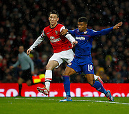 Picture by Mike  Griffiths/Focus Images Ltd +44 7766 223933<br /> 01/01/2014<br /> Lukas Podolski of Arsenal and Fraizer Campbell of Cardiff City during the Barclays Premier League match at the Emirates Stadium, London.