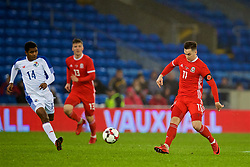 CARDIFF, WALES - Tuesday, November 14, 2017: Wales' Tom Lawrence during the international friendly match between Wales and Panama at the Cardiff City Stadium. (Pic by David Rawcliffe/Propaganda)