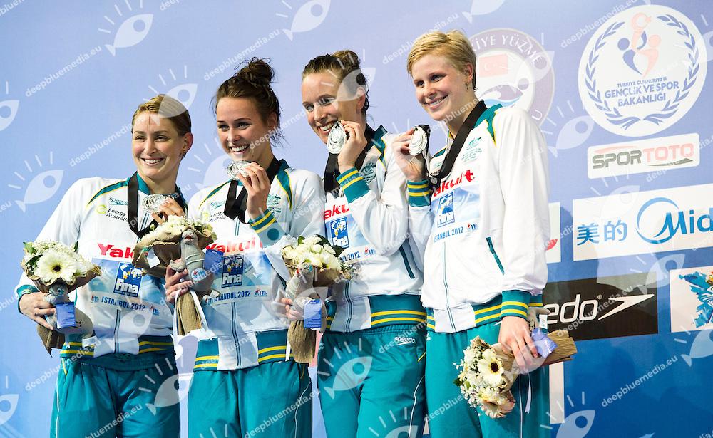 AUSTRALIA Silver Medal.Women 4x100m Freestyle.FINA World Short Course Swimming Championships.Istanbul Turkey 12 - 16 Dec. 2012.Day 04.Photo G.Scala/Deepbluemedia/Inside