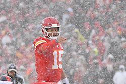 Dec 15, 2019; Kansas City, MO, USA; Kansas City Chiefs quarterback Patrick Mahomes (15) gestures on the line during the game against the Denver Broncos at Arrowhead Stadium. Mandatory Credit: Denny Medley-USA TODAY Sports