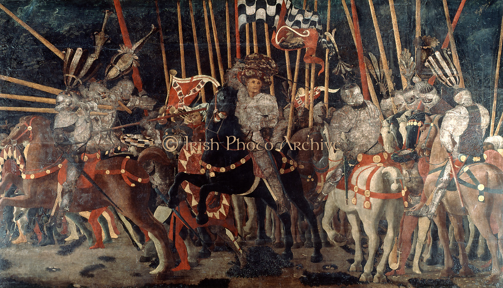 Counter-attack by Micheletto da Cotignola (M Attendola) at the Battle of San Romano, 1432' c1456. Tempera on wood. Paolo Ucello (1397-1475) Italian Early Renaissance painter. Battle between Florentines and Sienese. Cavalry Armour Lance