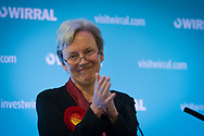 Victorious Labour Party candidate Margaret Greenwood giving a speech after defeating sitting MP Esther McVey at the count at Bidston Tennis Centre, Wirral for the Wirral West constituency in the 2015 UK General Election. The constituency was held by Esther McVey for the Conservative Party, who won the seat from Labour at the 2010 General Election. The constituency was one of the key marginal seats contested between the two main UK political parties.