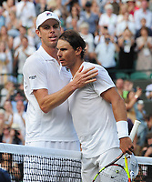 Tennis - 2019 Wimbledon Championships - Week Two, Wednesday (Day Nine)<br /> <br /> Men's Singles, Quarter-Final: Sam Querry (USA) v Rafael Nadal (ESP)<br /> <br /> Sam Querry congratulates Rafael Nadal after winning the match on Court 1.<br /> <br /> COLORSPORT/ANDREW COWIE
