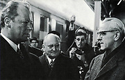 Willy Brandt, Mayor of Berlin and Chancellor of West Germany meeting with the East German Prime Minister Willi Stoph in 1970 during the period of detente.
