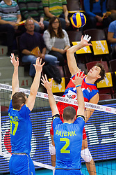 25.09.2015, MHP Aren, Ludwigsburg, GER, Volleyball Vier Nationen Turnier, Slowenien vs Serbien, im Bild Angriff Aleksandar Atanasijevic #14 (Serbien/Serbia) // during the match between Slovenia and Serbia of the Volleyball four Nations Tournament at the MHP Aren in Ludwigsburg, Germany on 2015/09/25. EXPA Pictures © 2015, PhotoCredit: EXPA/ Eibner-Pressefoto/ Wuechner<br /> <br /> *****ATTENTION - OUT of GER*****
