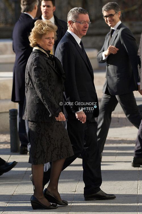 Alberto Ruiz Gallardon and Rouco Varela attend Solemn Mass honoring and remembering the victims of the 10th annivrsary of the terrorist attacks of March 11, 2004 at Almudena Cathedral on March 11, 2014 in Madrid