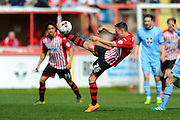 Exeter City's Jordan Tillson during the Sky Bet League 2 match between Exeter City and Morecambe at St James' Park, Exeter, England on 30 April 2016. Photo by Graham Hunt.