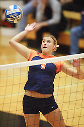 Melissa Caldwell (8) delivers a spike against Florida State at Memorial Gymnasium in Charlottesville, VA.  The Wahoos fell to the Seminoles three games to none on Saturday, October 14, 2006...<br />