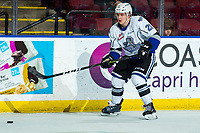 KELOWNA, BC - MARCH 11: Ty Yoder #20 of the Victoria Royals passes the puck against the Kelowna Rockets at Prospera Place on March 11, 2020 in Kelowna, Canada. (Photo by Marissa Baecker/Shoot the Breeze)