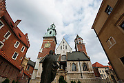 Vew of the Cathedral of Sts. Stanislaus and Wenceslas situated next to the Royal Castle on Wawel Hill in Cracow. In this cathedral St. John Paul II celebrated his first Mass as a priest in 1946, was consecrated a bishop in 1958 and installed the archbishop of Cracow in 1964. The presence of a church at this site dates back to around 1025. (CNS photo/Nancy Wiechec)