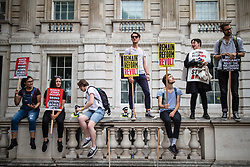 © Licensed to London News Pictures. 31/08/2019. London, UK. Thousands of protesters gather outside Downing Street to protest against the suspension of Parliament. The Queen has approved Prime Minister Boris Johnson's request to prorogue Parliament shortly after MPs return to work in September, a few weeks before the Brexit deadline of 31 October. Photo credit: Rob Pinney/LNP