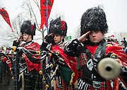 A pipes and drums band takes part in the March for Life outside the U.S. Supreme Court in Washington, DC on January 22, 2016. Activists from across the nation participated in the annual pro-life rally protesting abortion and the 1973 Roe v. Wade Supreme Court decision legalizing abortion.  Photo by Molly Riley/UPI