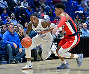 Middle Tennessee Blue Raiders guard Antonio Green (55) is defended by Middle Tennessee Blue Raiders forward James Hawthorne (4) during an NCAA college basketball game in Nashville, Tenn., Friday, Dec. 21, 2018. (Jim Brown/Image of Sport)