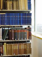 Books on library shelf