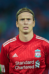 TRABZON, TURKEY - Thursday, August 26, 2010: Liverpool's Christian Poulsen before the UEFA Europa League Play-Off 2nd Leg match against Trabzonspor at the Huseyin Avni Aker Stadium. (Pic by: David Rawcliffe/Propaganda)
