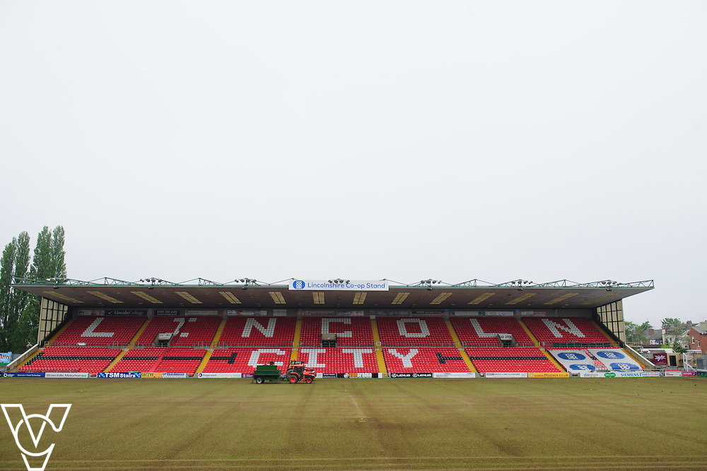 Lincoln City Football Club have started work on their Sincil Bank pitch during the close season.<br /> <br /> Picture: Chris Vaughan/Chris Vaughan Photography<br /> Date: May 19, 2016