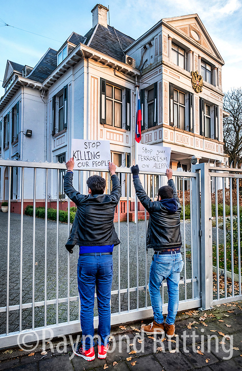 Netherlands- Syrian refugee protest - Syrian refugees protest in front of the Embassy of the Russian Federation in The Hague ,Netherlands. photo raymond rutting