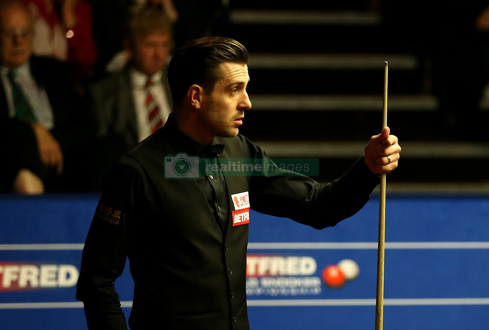 Mark Selby on day seventeen of the Betfred Snooker World Championships at the Crucible Theatre, Sheffield.