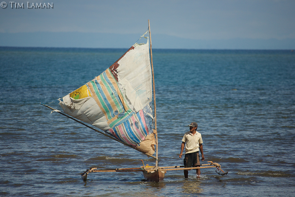 Outrigger canoes at Labilabi village, Halmahera, Indonesia.