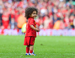 LIVERPOOL, ENGLAND - Sunday, May 11, 2014: One of Glen Johnson's sons on the pitch after the Premiership match at Anfield. (Pic by David Rawcliffe/Propaganda)