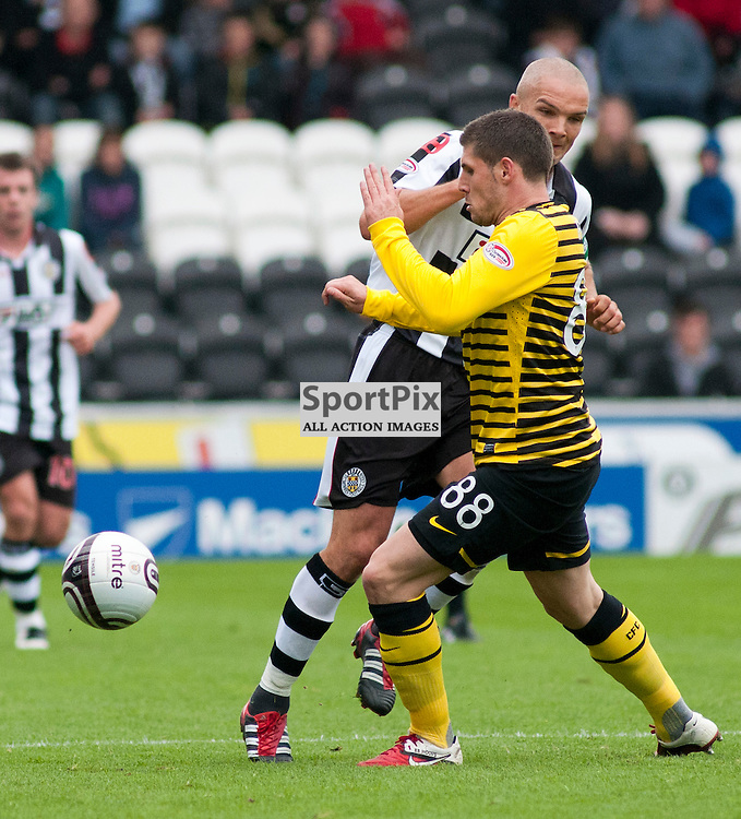 Gary Hooper and Jim Goodwin collide ,St Mirren v Celtic, Scottish Premier League