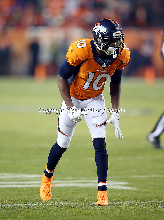 Denver Broncos wide receiver Emmanuel Sanders (10) gets set to go out for a pass during the 2015 NFL week 16 regular season football game against the Cincinnati Bengals on Monday, Dec. 28, 2015 in Denver. The Broncos won the game in overtime 20-17. (©Paul Anthony Spinelli)