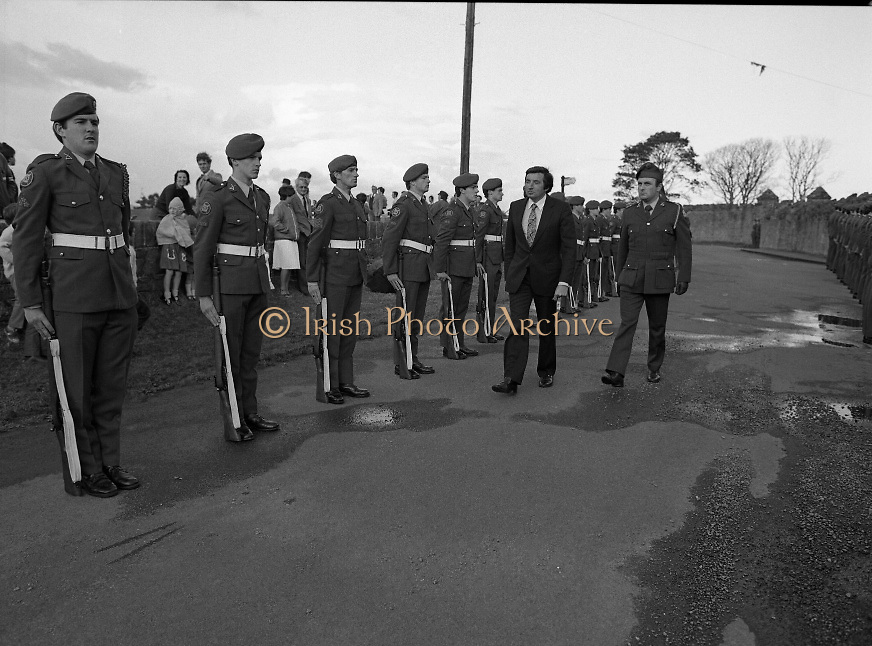 """The Carlingford Oyster Festival.1982.19.08.1982..08.19.1982.19th August 1982..Pictures and Images of the Carlingford Oyster Festival... The Minister For Fisheries and Forestry Mr Brendan Daly officially opened  The Carlingford Oyster Festival. The Chairman of the organising committee was Mr. Joe McKevitt..""""The Oyster Pearl"""" was Ms Deirdre McGrath..""""A"""" company,8th Batt.,Dundalk F.C.A.form a guard of honour..The Minister Inspects the troops accompanied by Lieut. Oliver Nixon"""
