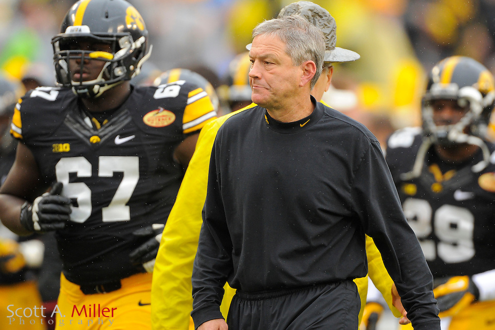 Iowa Hawkeyes head coach Kirk Ferentz during LSU's 21-14 win over the Hawkeyes in the 2014 Outback Bowl at Raymond James Stadium on Jan 1, 2014  in Tampa, Florida.            ©2014 Scott A. Miller