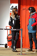 BARCELONA, SPAIN, 2016, FEBRUARY 23 <br /> <br /> Lara Alvarez and Fernando Alonso have become inseparable. So much so that TV presenter goes so far as their commitments allow, beside the pilot of Formula 1. The well-known journalist was last seen enjoying a fun day at the Circuit de Catalunya where the dedicated athlete performing the test test his new car McLaren. Lara Alvarez, wearing sportswear team her boyfriend and modern sunglasses and striking Californian wicks, unnoticed, moving freely around the facility. She stopped to chat with some members of the team. With her best smile and thanks to their sympathy, focused the attention of everyone present. During practice she had to use a few helmets to avoid hearing damage<br /> ©Exclusivepix Media