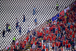 BELGRADE, SERBIA - Sunday, June 11, 2017: Stewards restore order after Serbia supporters threw missiles into the Wales section during the 2018 FIFA World Cup Qualifying Group D match between Wales and Serbia at the Red Star Stadium. (Pic by David Rawcliffe/Propaganda)