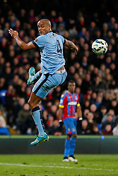 Yaya Toure of Manchester City heads the ball - Photo mandatory by-line: Rogan Thomson/JMP - 07966 386802 - 06/04/2015 - SPORT - FOOTBALL - London, England - Selhurst Park - Crystal Palace v Manchester City - Barclays Premier League.