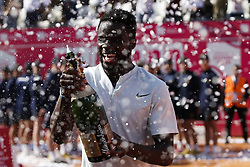 May 6, 2018 - Estoril, Portugal - North-American tennis player Frances Tiafoe sprays champagne after his  Millennium Estoril Open ATP Singles  tennis match, in Estoril, near Lisbon, on May 4, 2018. (Credit Image: © Carlos Palma/NurPhoto via ZUMA Press)