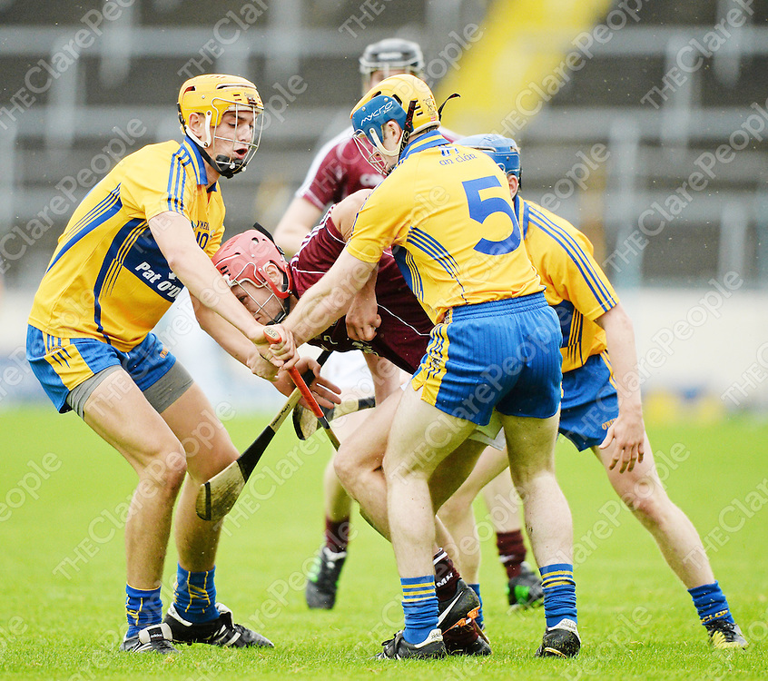 24 August 2013; Matthew Keating, Galway, in action against Stephen O'Halloran, Seadna Morey and Pádraic Collins, Clare. Bord Gáis Energy GAA Hurling Under 21 All-Ireland Championship Semi-Final, Galway v Clare, Semple Stadium, Thurles, Co. Tipperary. Picture credit: Ray McManus / SPORTSFILE