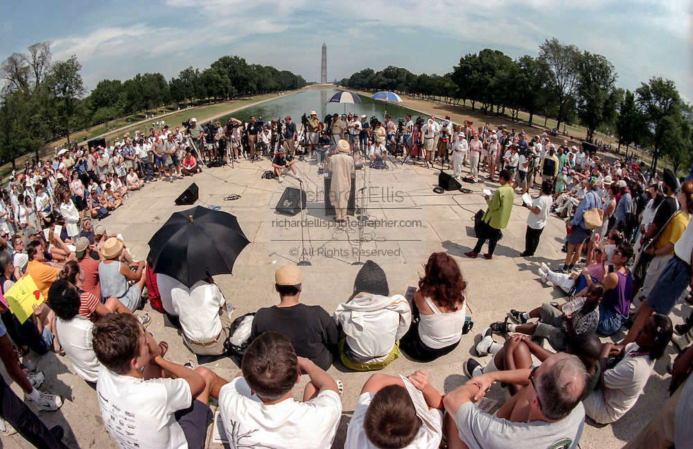 Speakers address a crowd at a civil rights Respect Rally in front of the Lincoln Memorial August 7, 1999 in Washington, DC. The rally was held the same day as a planned Neo-Nazi rally was cancelled in the city.