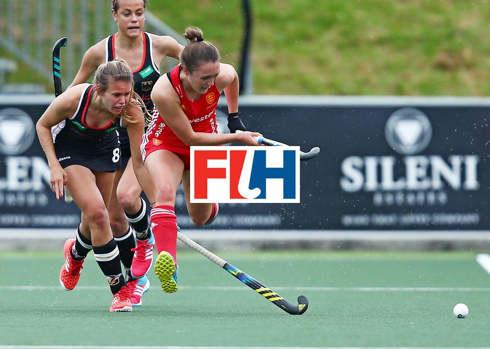 New Zealand, Auckland - 18/11/17  <br /> Sentinel Homes Women&rsquo;s Hockey World League Final<br /> Harbour Hockey Stadium<br /> Copyrigth: Worldsportpics, Rodrigo Jaramillo<br /> Match ID: 10293 - ENG vs GER<br /> Photo: (8) SCHR&Ouml;DER Anne&nbsp;(C) against (8) PAIGE Olivia