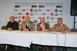 Presentation new jumping coach and chef d'equipe :<br /> Guerdat Philippe (SUI), Buchmann Jacky (president Belgian federation), Mathy Eugene (President Jumping commission), Devos Ingmar (Secretary General Belgian Federation)<br /> CSI-W Mechelen 2009<br /> Photo © Dirk Caremans