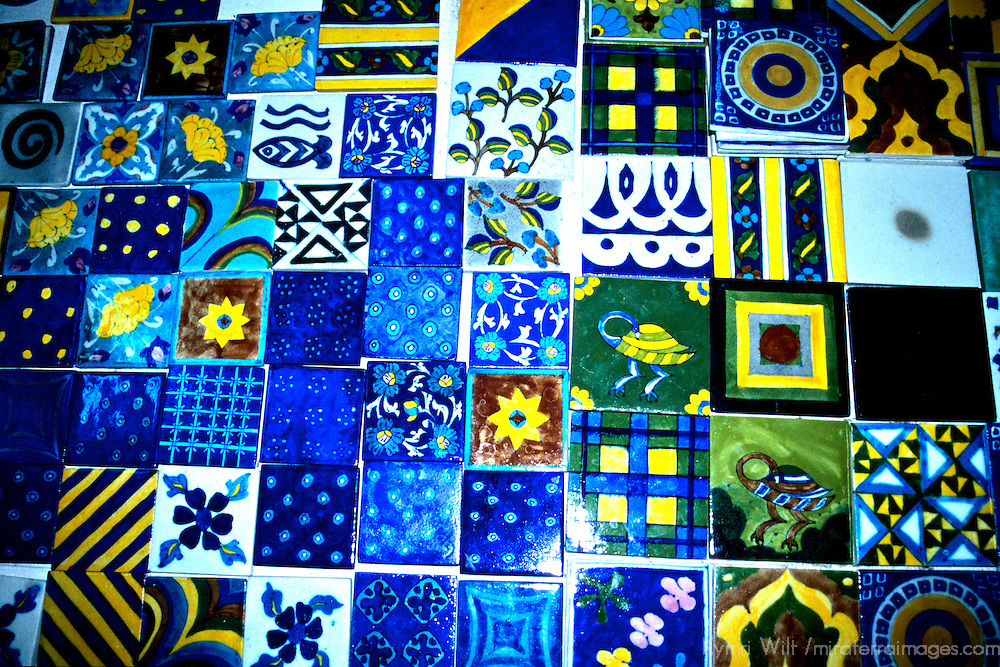 Asia, India, Jaipur. Colorful ceramic hand painted tiles.