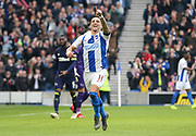 GOAL - Brighton and Hove Albion midfielder Anthony Knockaert (11) celebrates 1-0 during the The FA Cup 5th round match between Brighton and Hove Albion and Derby County at the American Express Community Stadium, Brighton and Hove, England on 16 February 2019.