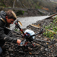 Nick Wolcott prepares his Octicopter for filming a section of the White Salmon River for the documentary movie DamNation.