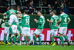BREMEN, Dec. 8, 2018  Bremen's Players celebrate their first scoring during a German Bundesliga match between SV Werder Bremen and Fortuna Duesseldorf, in Bremen, Germany, on Dec. 8, 2018. Duesseldorf lost 1-3. (Credit Image: © Kevin Voigt/Xinhua via ZUMA Wire)