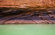 Striations and fractured rock near mile 16 of the Colorado River in Marble Canyon. Grand Canyon National Park.