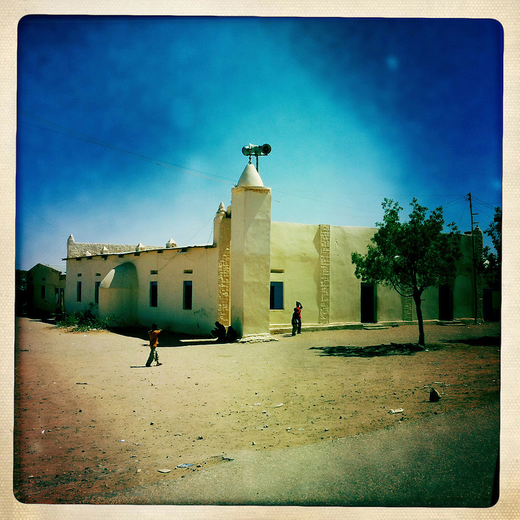 Somaliland, Burao, the corner of a mosque with loudspeakers.