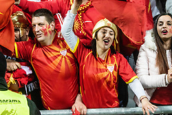Fans of Macedonia celebrate during football match between National teams of Slovenia and North Macedonia in Group G of UEFA Euro 2020 qualifications, on March 24, 2019 in SRC Stozice, Ljubljana, Slovenia.  Photo by Matic Ritonja / Sportida